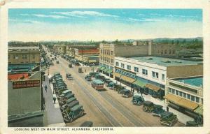 Alahambra California Autos Main Street 1920s Postcard Teich 3419