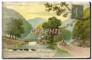 Old Postcard Fancy Shepherd Sheep water mill