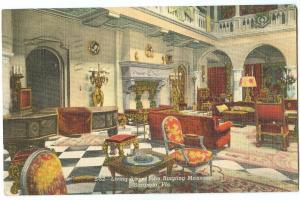 Living Room, John Ringling Mansion, Sarasota, Florida, 1948 used linen Postcard