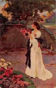 W Menzler~In the Park of the Castle~Lady Picks Flowers~Long White Gown~Oilfacism