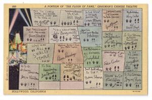 Graumans Floor of Fame Hollywood CA 1941 Linen Postcard