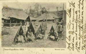 indonesia, TIMOR, Village Scene, Native People with Umbrella (1916) Expedition