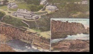Maine Ogunquit Airplane View Of Cliff House & Cottages Handcolored Albertype