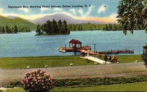 New York Bolton Landing Algonquin Bay Showing Picnic Islands