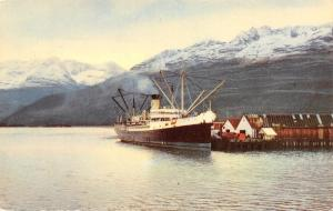 Valdez Alaska~S S Alaska at Dock~1950s Postcard