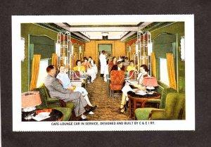 Chicago and & Eastern Illinois Railroad Train Car Cafe Lounge Reprint Postcard