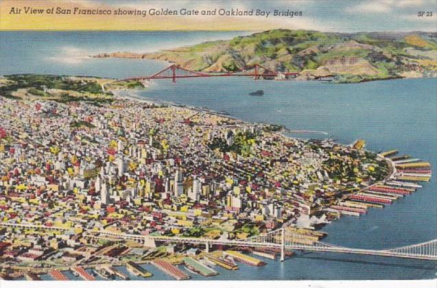 California San Francisco Air View Showing Golden Gate and Oaklnad Bay Bridges...
