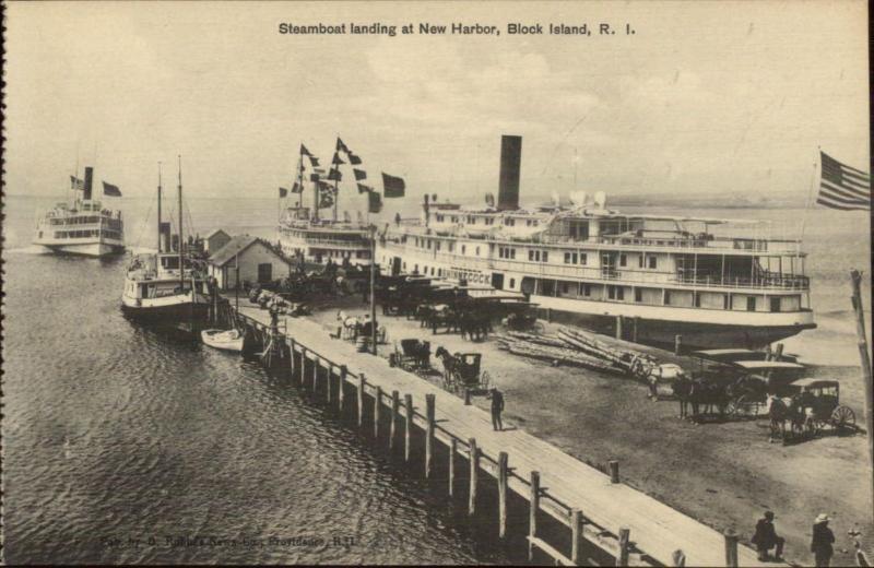 Block Island RI Steamboat Landing New Harbor c1910 Postcard