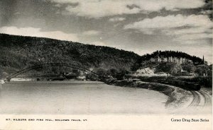 VT - Bellows Falls. Mount Kilburn and Pine Hill and Train