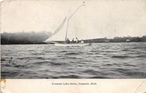 Fremont Michigan~Fremont Lake Scene~Men Riding in Sailboat~1908 Postcard