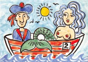 Postcard Seaside In The Boat, Mermaid, Sailor by Kate Glanville Sunbathers B14