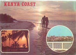 Kenya Coast different aspect Postcard sunset secluded beach view tourist couple