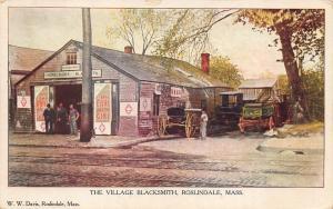 1908 Roslindale MA The Village Blacksmith Horse & Wagons Postcard