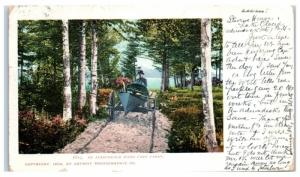 1906 Adirondack Hand Cart Carry Boat Portage Postcard
