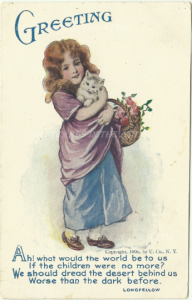 Victorian Girl with Cat / Kitten and Roses in Basket Verse Longfellow