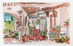 Balboa Park San Diego California Sketch Painting Postcard