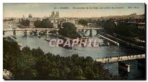 Paris Old Postcard Panorama of the view taken cites the Louvre
