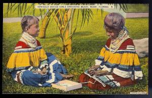 Seminole Indian Girls & beads Miami FL unused c1930's