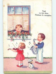 Pre-Linen foreign signed JOHN WILLS - DOG WATCHES FRENCH KIDS PLAY MUSIC HL8332