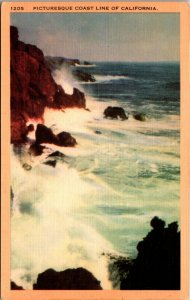 California CA Mountains Picturesque COAST Scene Postcard Old Vintage Card View