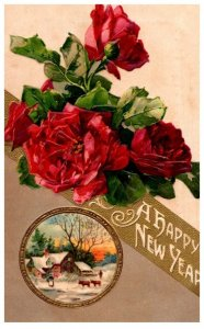 New Year  , flowers,  red roses , farm scene