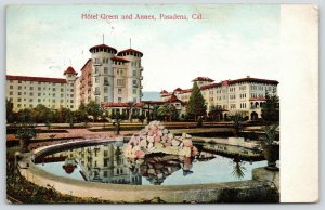 Pasadena California~Hotel Green & Annex~Colorful Rock Fountain Pool~1908 PC