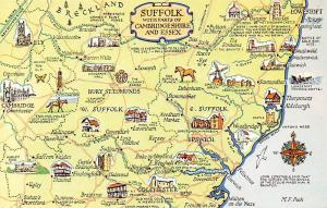 Suffolk with parts of Cambridgeshire and Essex, Breckland, England Map
