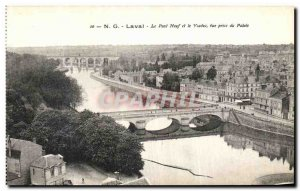 Old Postcard Laval Pont Neuf and the Palace of the view taken Viaduct