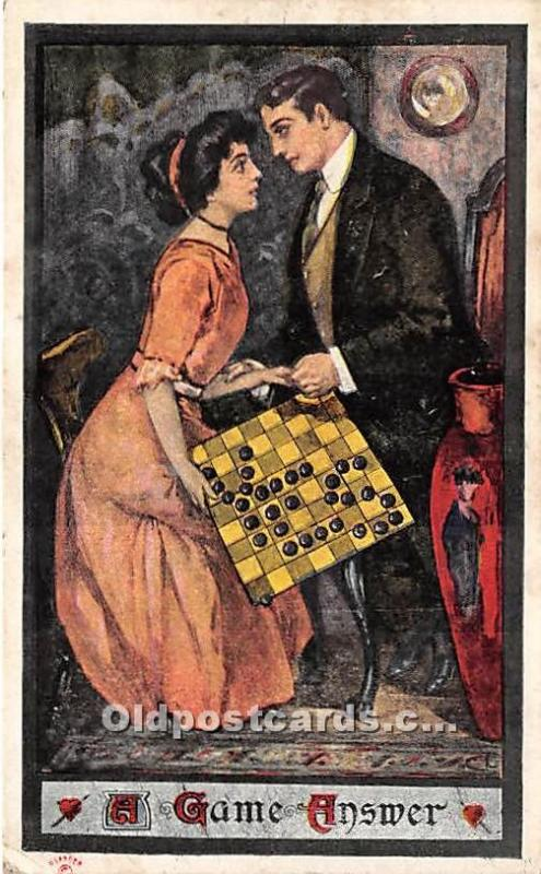 Old Vintage Chess / Checkers Postcard Post Card Chess Postcard A Game Answer