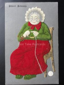 Novelty Postcard: Granny Knitting with Wool & Needle Embossed Flock Old Postcard