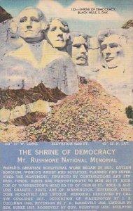 South Dakota Black Hills Shrine Of Democracy Mount Rushmore National Memorial...