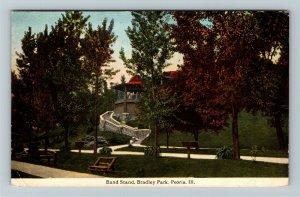Peoria IL-Illinois, Band Stand at Bradley Park, Vintage c1921 Postcard