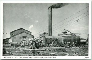 Oroville, California Postcard FEATHER RIVER PINE MILLS c1940s Unused