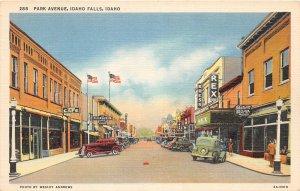 F72/ Idaho Falls Idaho Postcard Linen Park Avenue Stores Automobiles