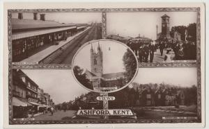 Kent; Ashford Multiview RP PPC By WH Smith, 1915 PMK, Note Station Interior View