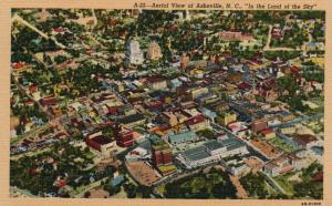 Air View of Asheville, North Carolina, NC, 1946 Linen Vintage Postcard g774