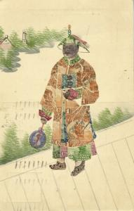 china, Chinese Stamp Collage Man in Traditional Costume (1927) Postcard