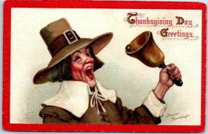 1910s Artist-Signed Frances Brundage THANKSGIVING Postcard Pilgrim Man / Bell