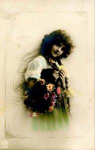 Pretty Girl (Hand Colored).   *RPPC