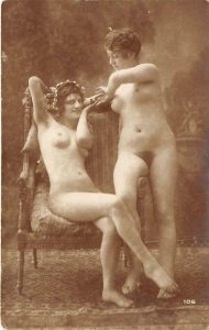 RPPC Nude Women Antique Pin-Up ca 1910s Real Photo Vintage Postcard