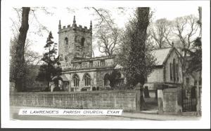 REAL PHOTO Black & White Postcard St. Lawrence's Church EYAM Derbyshire