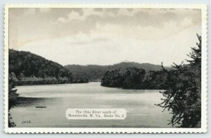 Moundsville West Virginia~Ohio River South of Town~Route 2~1940s B&W Postcard