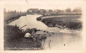 Chester Iowa~Young Man Fishing the Old Mill Dam~Cows~Farm Houses~Barns~1914 RPPC
