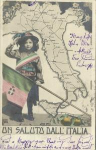 italy, MAP Postcard, Young Girl Holds the Flag, Un Saluto dall' Italia (1936)