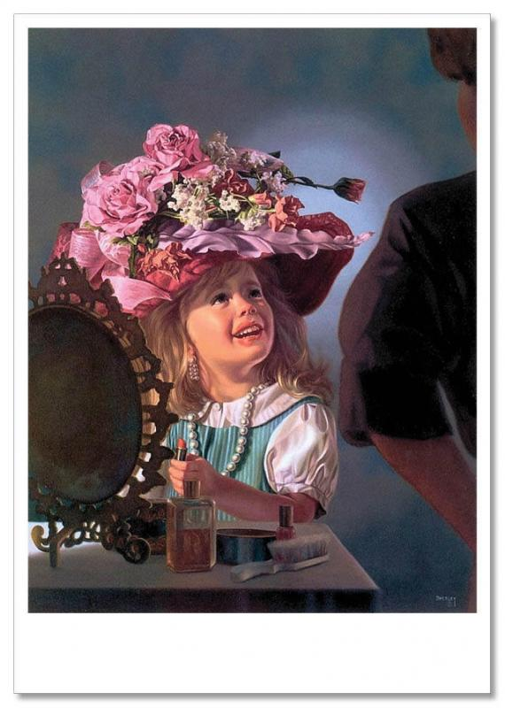 Pretty Little Girl fashion-monger as MOM Funny KIDS Russia Modern Postcard