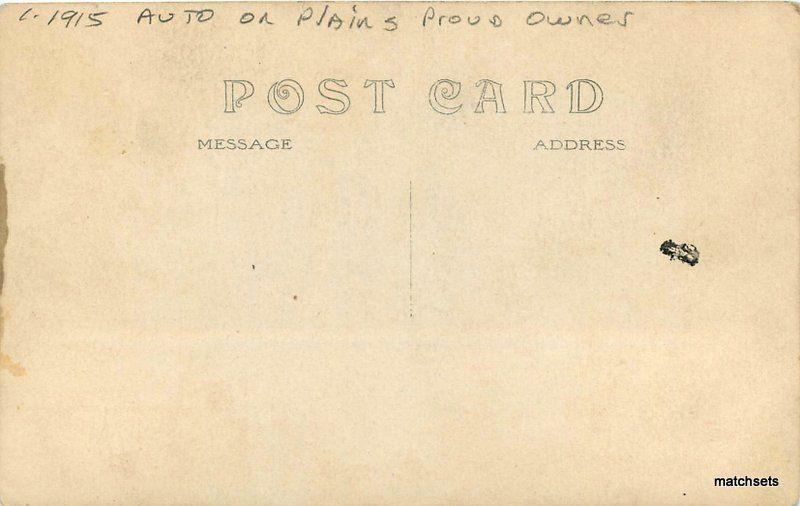 Auto on Plains proud owner C-1915 RPPC Real photo postcard 9445