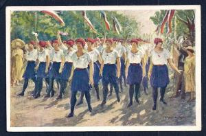 8th General Sokol Festival Prague Marching Girl unused c1926