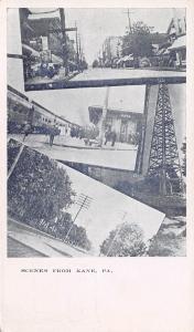 Kane PA Main & Residential Streets~Oil Derrick~Railroad Depot~Multiview 1905 UDB