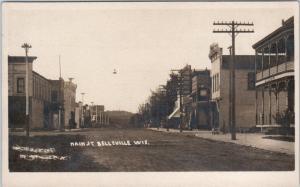 RPPC  BELLEVILLE, Wisconsin  WI    MAIN STREET Scene  ca 1910s  Photo  Postcard