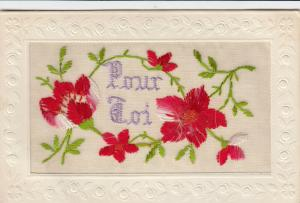 Hand Sewn, 1900-10s; Pour Toi (For You), Red flowers